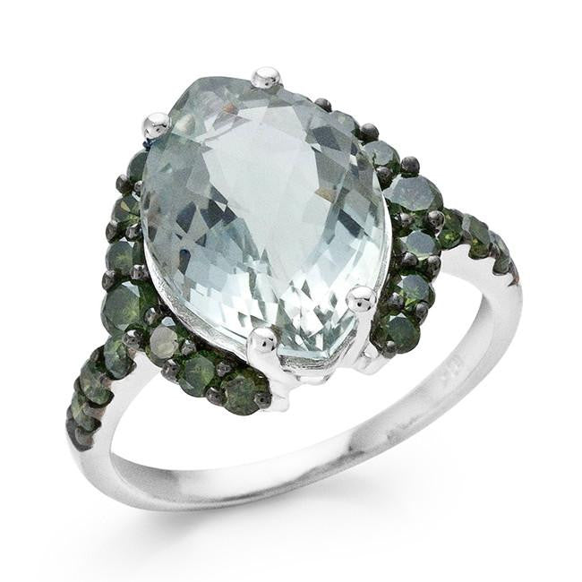 5.30 Carat Green Amethyst and Green Diamond Ring in 10K White Gold