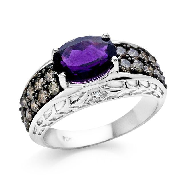 2.65 Carat Amethyst and Champagne Diamond Ring in 10K White Gold