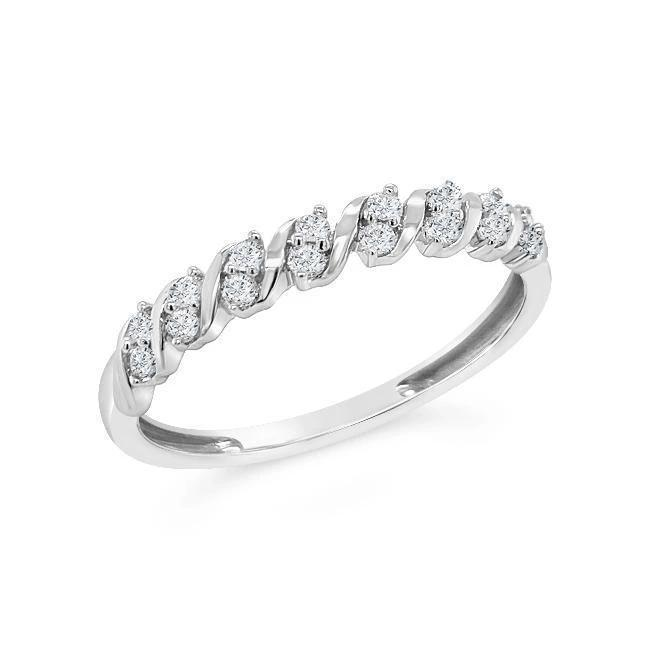 1/6 Carat Diamond Swirl Band in 10K White Gold