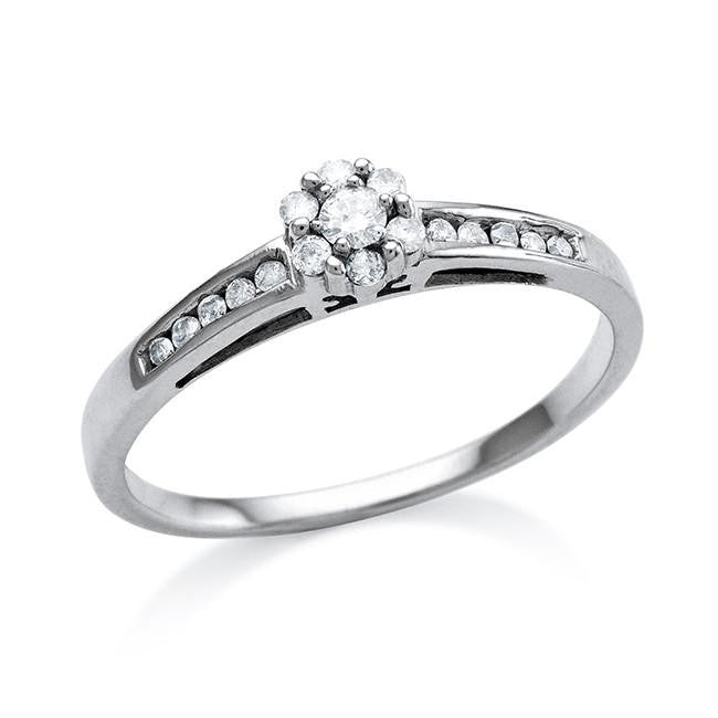 0.15 Carat Diamond Ring in 10K White Gold