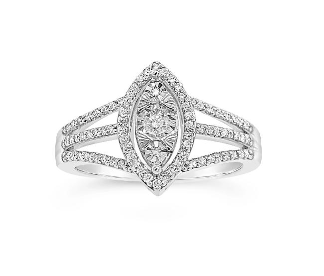 1/4 Carat Diamond Ring in 10K White Gold