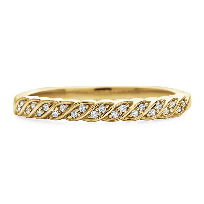 1/10 Carat Diamond Swirl Band in 14K Gold/Sterling Silver
