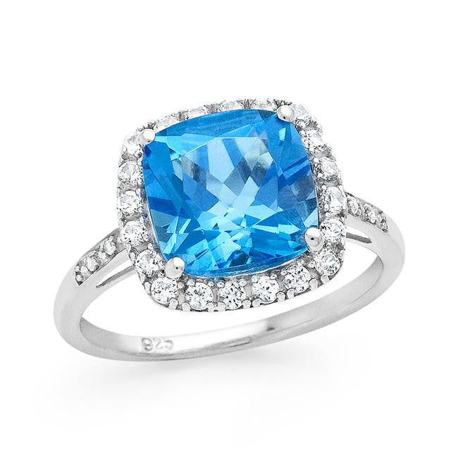 4.30 Carat Genuine Swiss Blue Topaz & White Sapphire Ring in Sterling Silver
