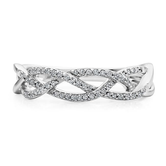 0.15 Carat Diamond Woven Ring in 10K White Gold