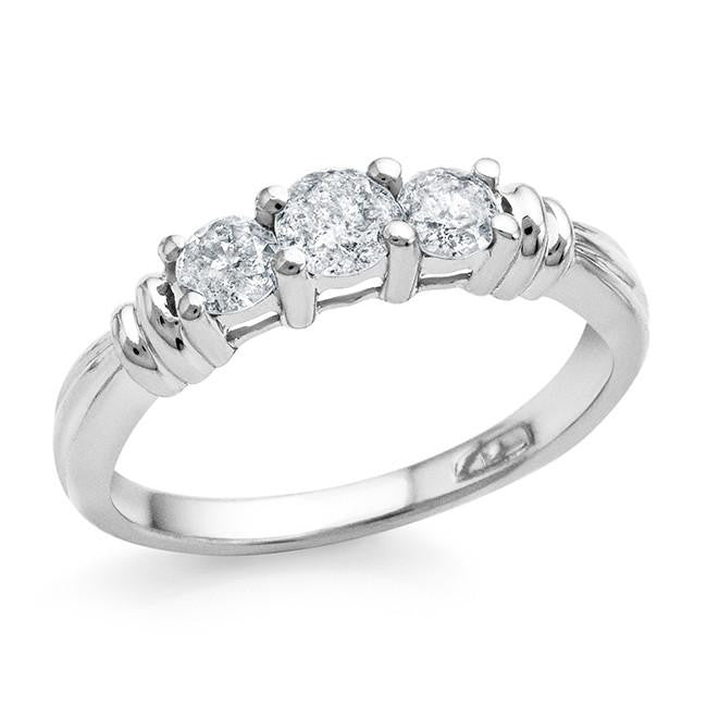 0.50 Carat 3-Stone Diamond Ring in 10k White Gold