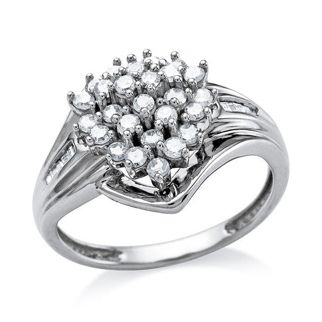 0.50 Carat Diamond Cluster Heart Ring in 10K White Gold