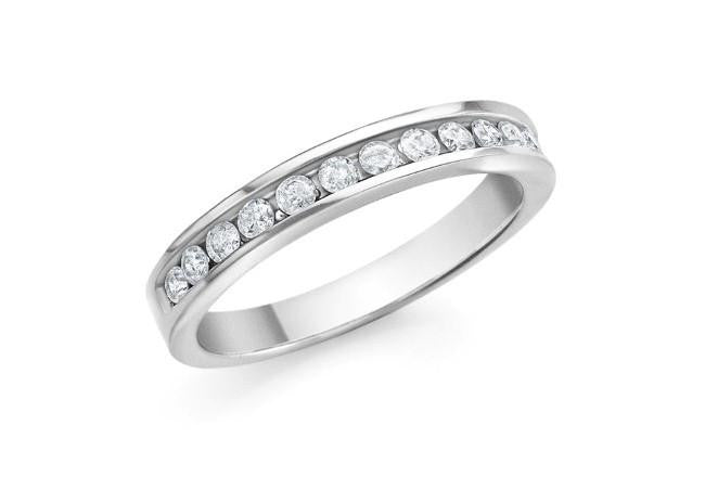 1/4 Carat Round Diamond Channel Set Band in 10K White Gold