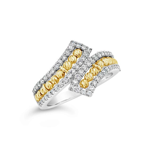 3/8 Carat Diamond Bypass Ring in Two-Tone 10K Gold