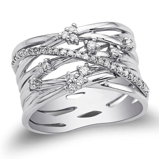 1/4 Carat Diamond Multirow Fashion Ring in 10K White Gold