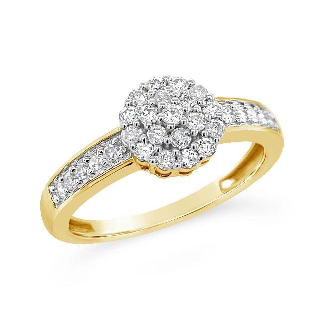 1/3 Carat Diamond Flower Cluster Ring in 10K Yellow Gold