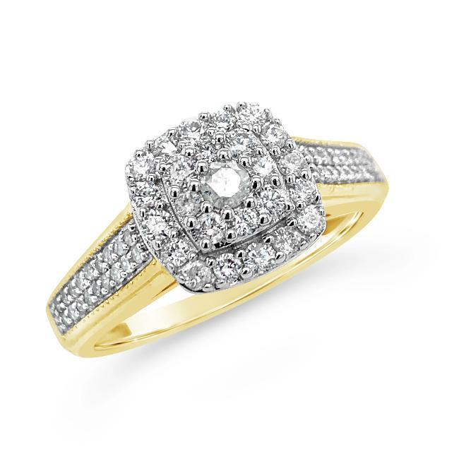 1/2 Carat Diamond Bridal Ring in 10K Yellow Gold
