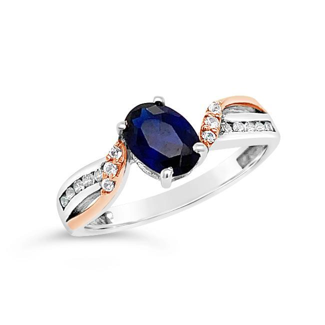 0.97 Carat Created Blue & White Sapphire in Two-Tone Sterling Silver - 7