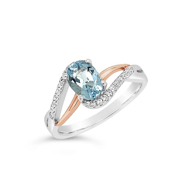 0.67 Carat Genuine Aquamarine & White Topaz Ring in Two-Tone Sterling Silver - 6.75