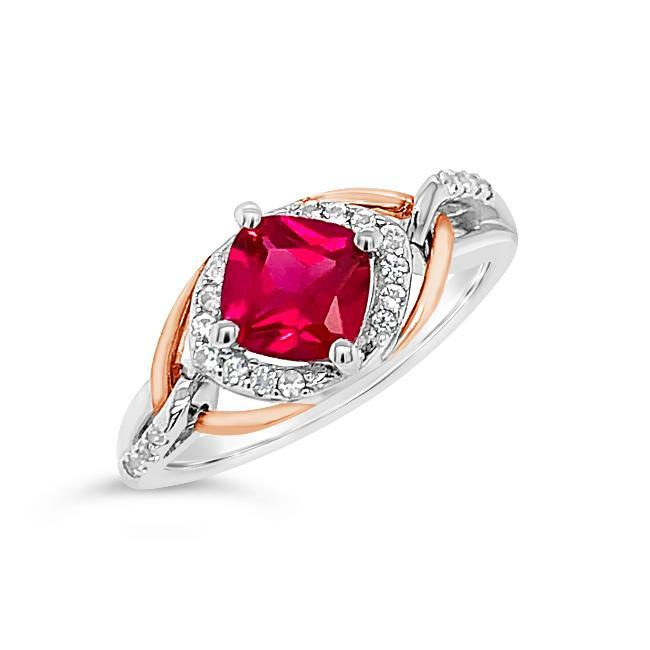 1.30 Carat Created Ruby & White Sapphire Ring in Two-Tone Sterling Silver - 6.75
