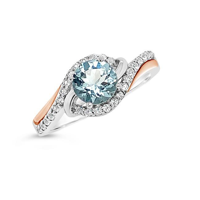 0.58 Carat Genuine Aquamarine & White Topaz Ring in Two-Tone Sterling Silver - 7