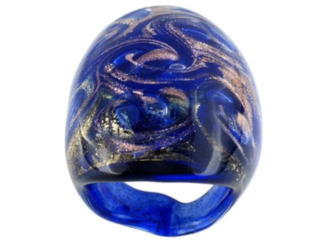 Mia By Netaya: Multicolor Glitter Murano Glass Dome Ring Made in Italy