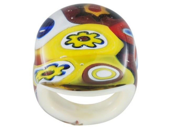 Mia By Netaya: Multicolor Multi-Pattern Murano Glass Dome Ring Made in Italy
