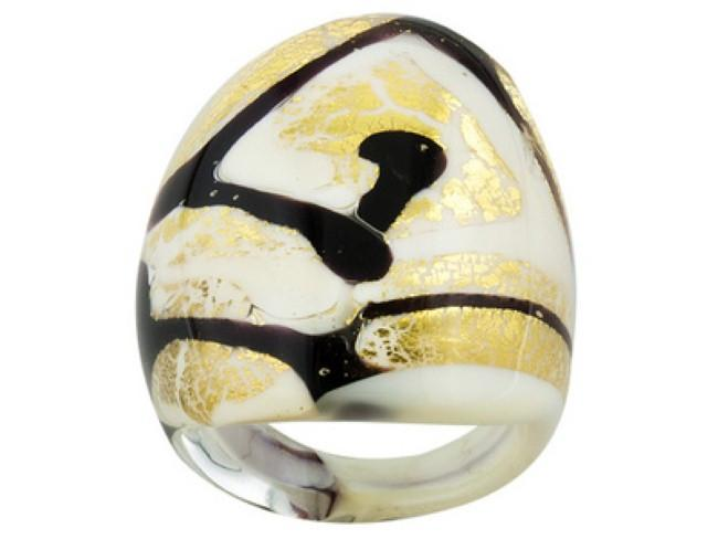 Mia By Netaya: White and Black Glitter Swirl Murano Glass Dome Ring