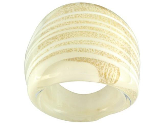 Mia By Netaya: White and Gold Glass Dome Ring Made in Italy