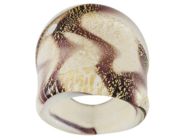 Mia By Netaya: Multicolor Glitter Swirl Murano Glass Band Ring Made in Italy