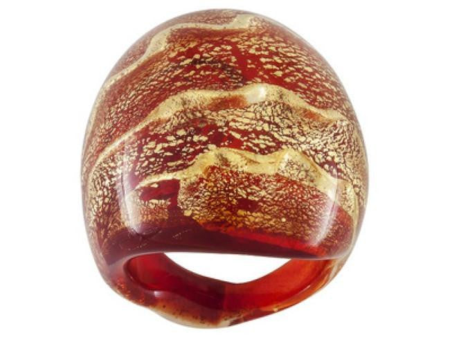 Mia By Netaya: Red and Gold Murano Glass Dome Ring Made in Italy