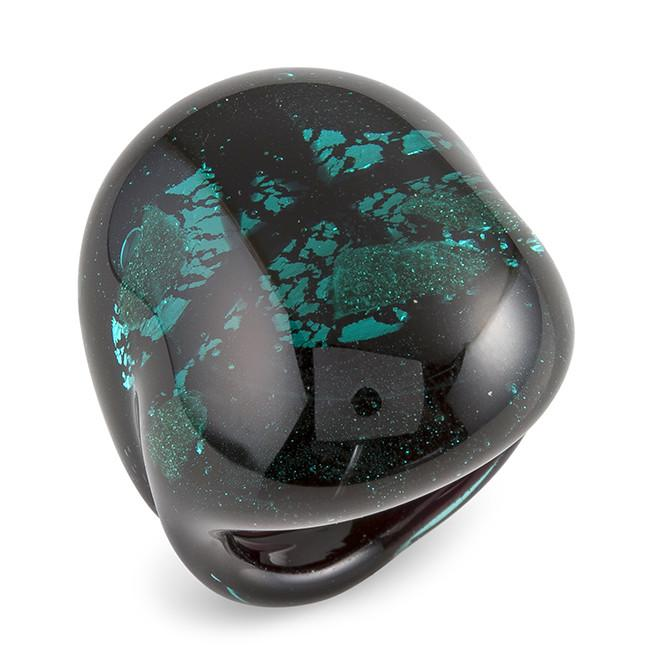 Mia By Netaya: Black and Teal Murano Glass Ring Made in Italy