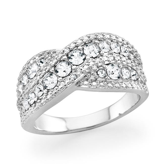 Diamond Accent & Crystal Crossover Ring in Platinum-Plated Bronze