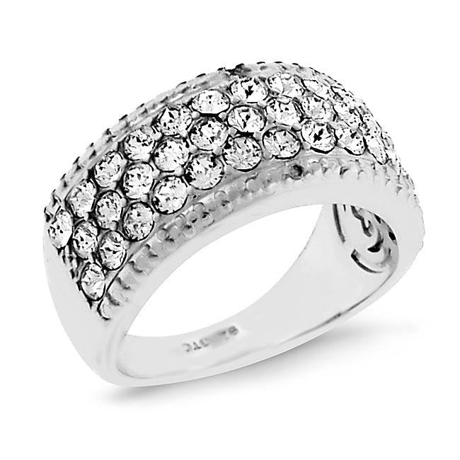 Diamond Accent & Crystal Ring in Platinum-Plated Bronze