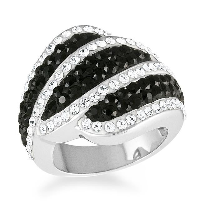 Platinum-Plated Bronze Stripe Ring Made with Black & White Swarovski Elements