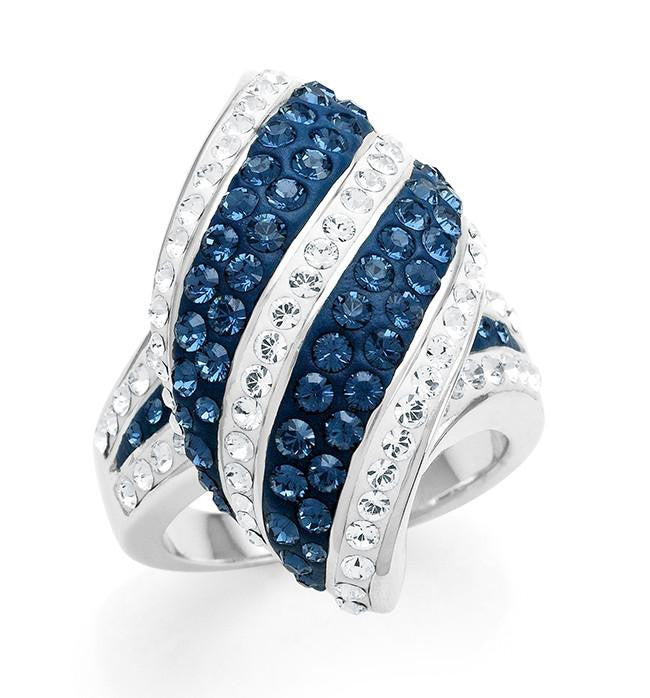 Bronze Blue & White Crystal Fashion Kite Ring