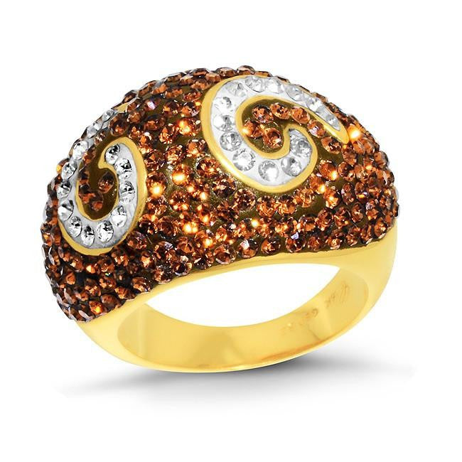 Gold Over Bronze Swarovski Elements Brown & White Crystal Ring
