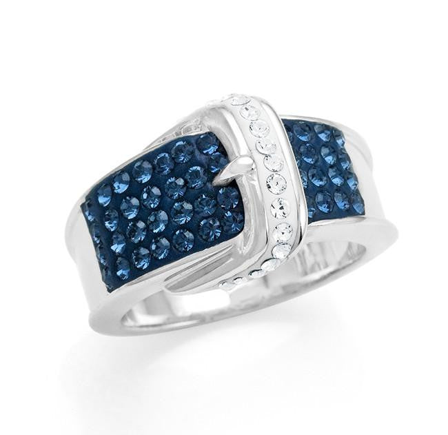 Bronze Blue & White Crystal Fashion Buckle Ring