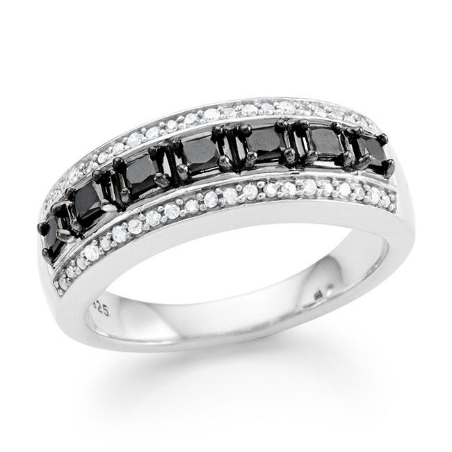 0.50 Carat Black & White Diamond Princess Ring in Sterling Silver