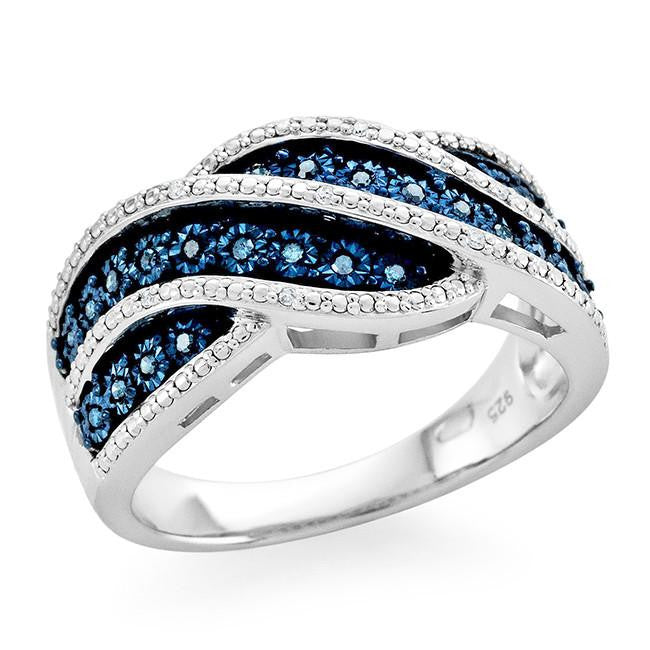 0.10 Carat Blue & White Diamond Ring in Sterling Silver