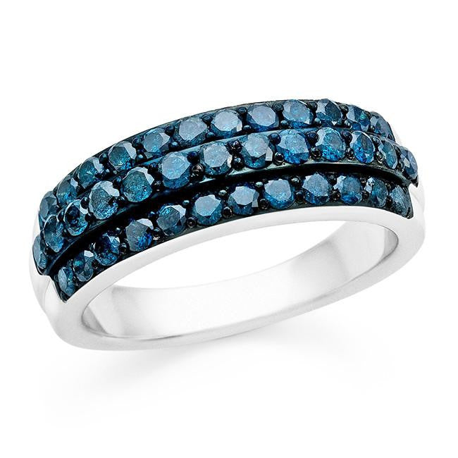 1.00 Carat Blue Diamond Ring in Sterling Silver