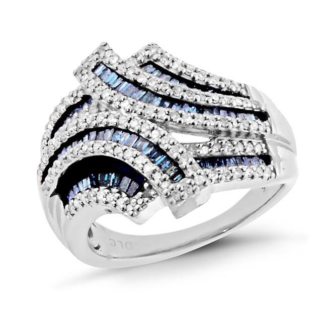 1.10 Carat Blue and White Diamond Fashion Ring in Sterling Silver