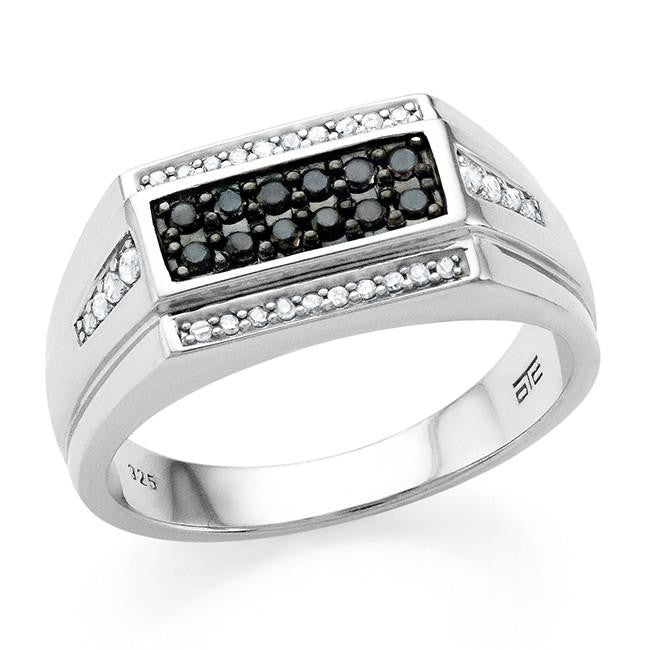 0.33 Carat Black & White Diamond Gentlemens' Ring in Sterling Silver