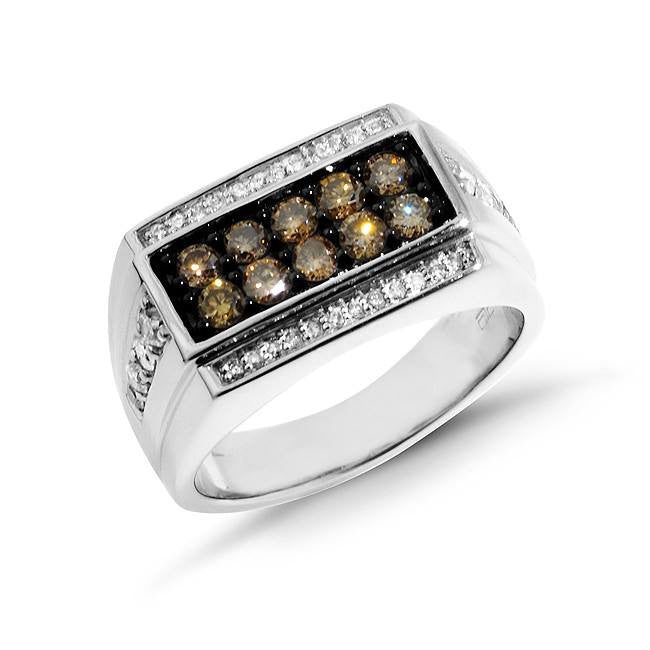 1.00 Carat tw Champagne & White Diamond Men's Ring in Sterling Silver