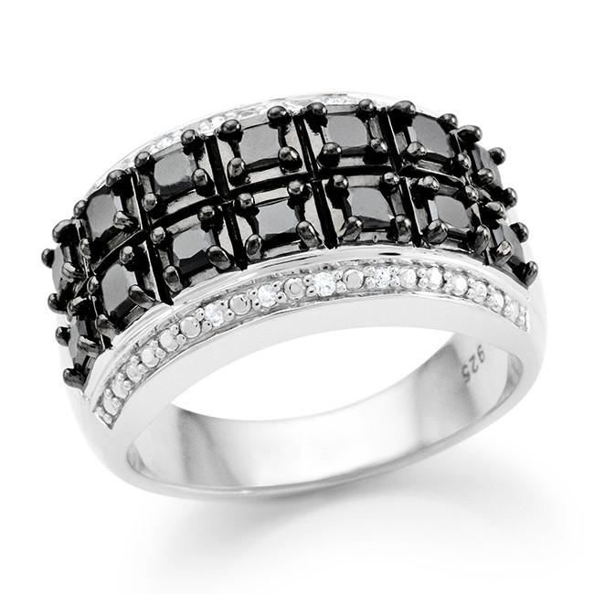 1.00 Carat Black & White Diamond Princess Ring in Sterling Silver