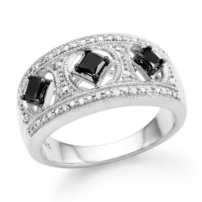 0.33 Carat Black & White Diamond Princess Ring in Sterling Silver