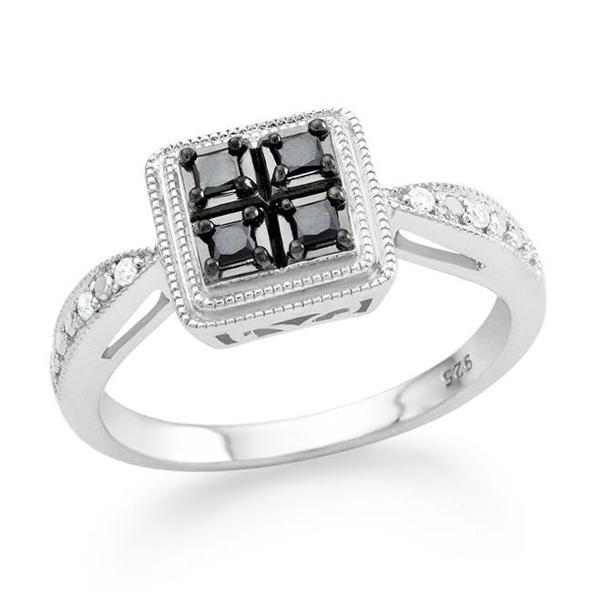 0.17 Carat Black & White Diamond Princess Ring in Sterling Silver