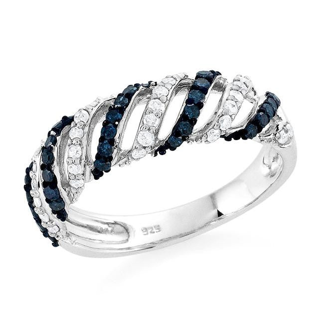 0.60 Carat Blue & White Diamond Ring in Sterling Silver