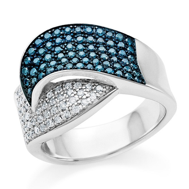 3/4 Carat Blue & White Diamond Ring in Sterling Silver - 6.5