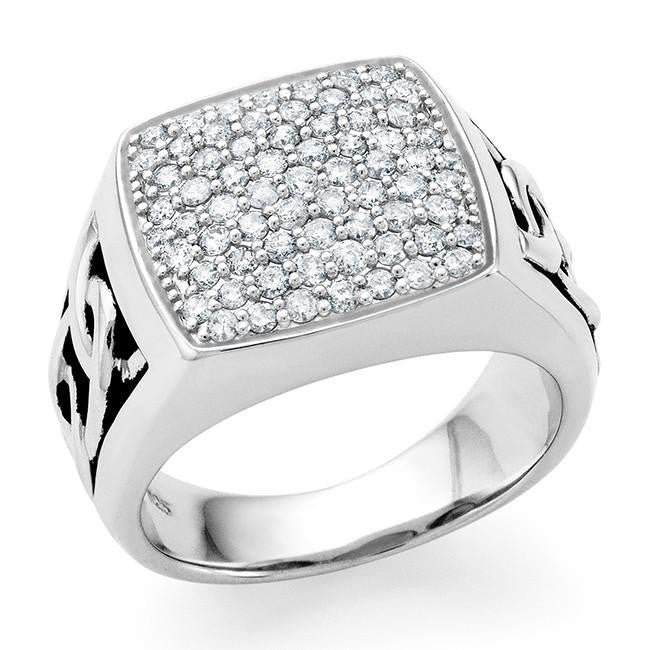 1.00 Carat tw Diamond Men's Ring in Sterling Silver