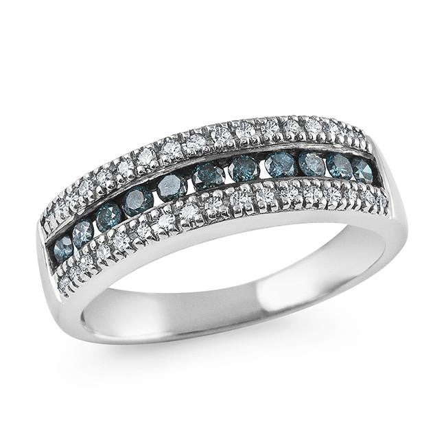 1/2 Carat Blue and White Diamond Ring in Sterling Silver