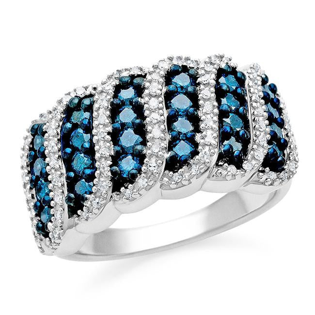 1.00 Carat Blue & White Diamond Swirl Ring in Sterling Silver