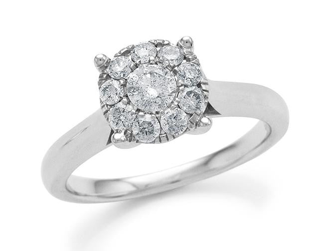 Endless Harmony: 0.50 Carat Diamond Ring in Sterling Silver