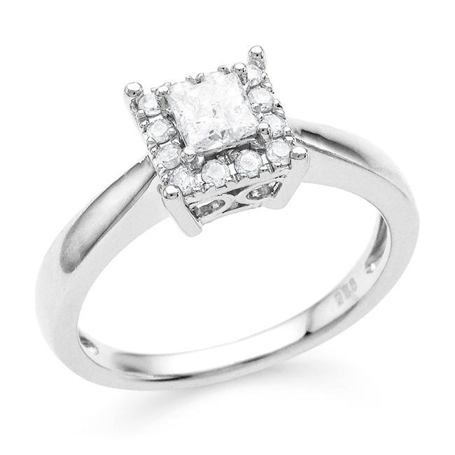 0.50 Carat Diamond Ring in Sterling Silver
