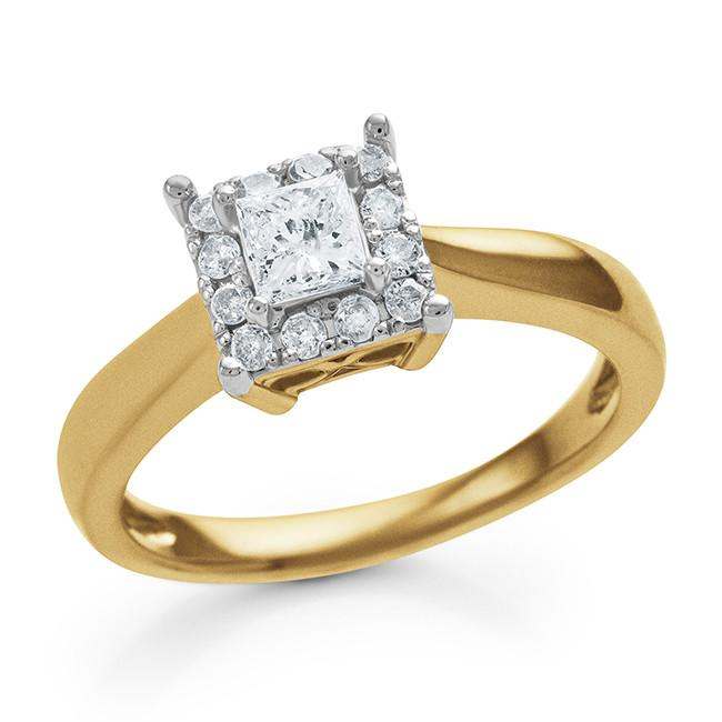 Endless Harmony: 0.50 Carat Diamond Ring in Yellow Gold-Plated Sterling Silver