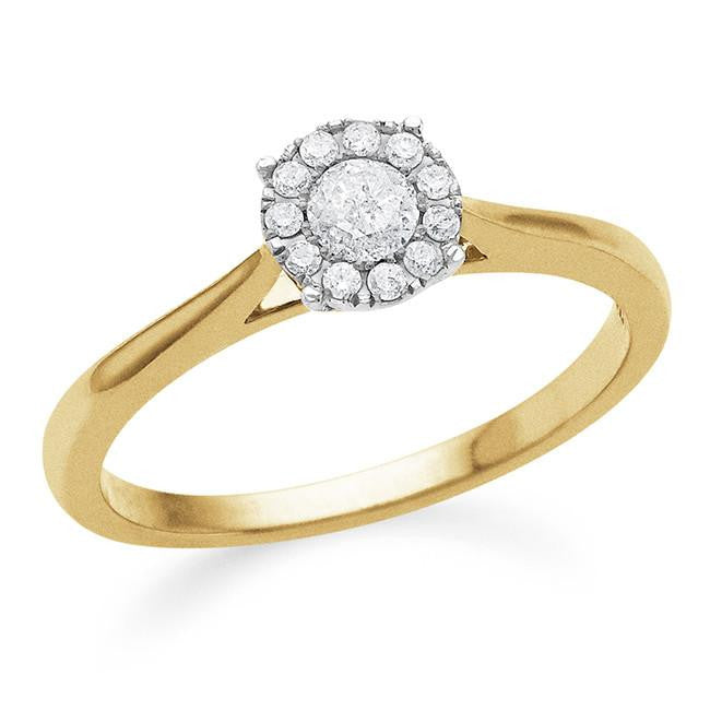 Endless Harmony: 0.25 Carat Diamond Ring in Gold-Plated Sterling Silver
